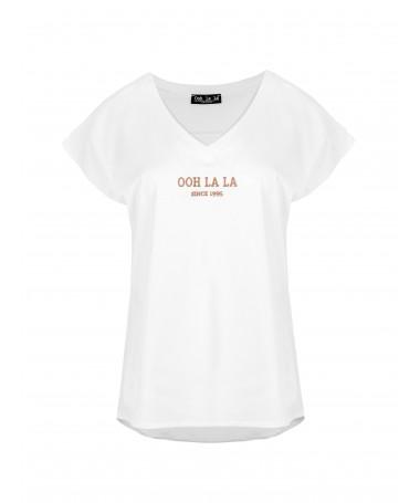 T-shirt z haftem OOH LA LA